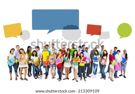 Large group of international students smiling - stock photo