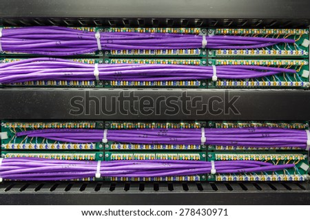 Large group of lilac utp, patch panel in the server rack in the data center - stock photo
