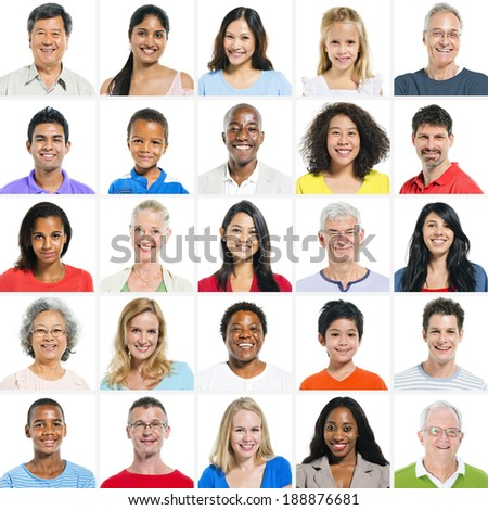 Large group of Multi Ethnic Group - stock photo