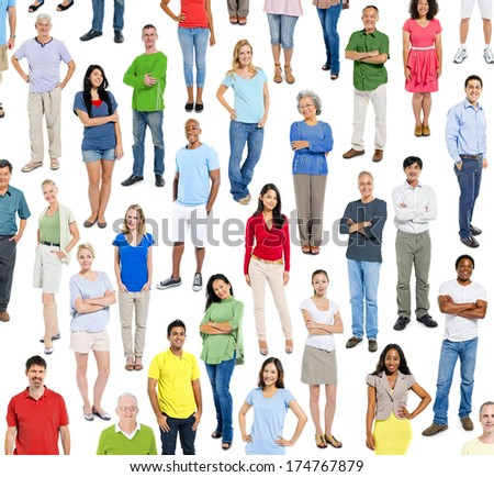 Large group of multi ethnic real people - stock photo
