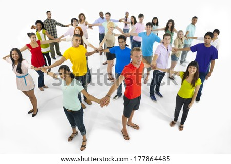 Large Group of Multi-Ethnic Young People Connecting Together - stock photo