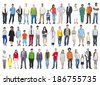 Large Group of Multiethnic Colorful Diverse People - stock photo