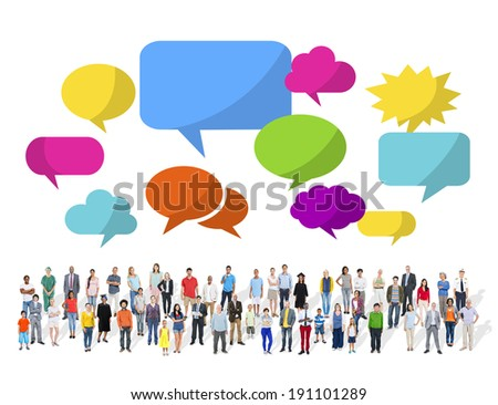 Large Group of Multiethnic People with Speech Bubbles