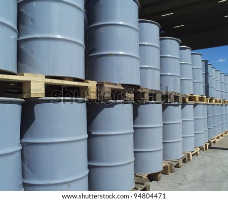 Large group of Oil Drums - stock photo