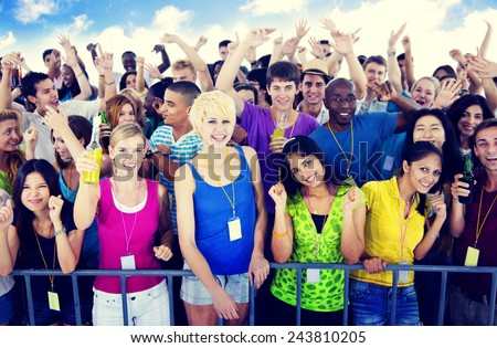 Large Group of People Celebrating Traditional Festival Concept - stock photo