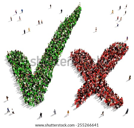 Large group of people, dressed in green and red colors, gathered together in the shape of check marks symbols - stock photo