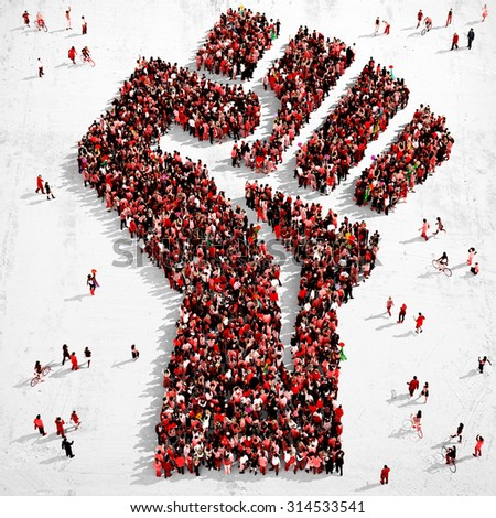 Large group of people dressed in red clothes gathered together in the shape of a fist symbol standing on a grungy background - stock photo