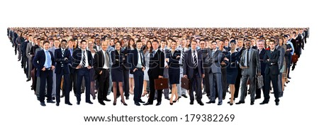 Large group of people full length isolated on white - stock photo