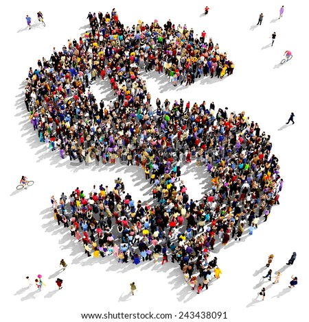 Large group of people gathered together in the shape of a dollar sign - stock photo