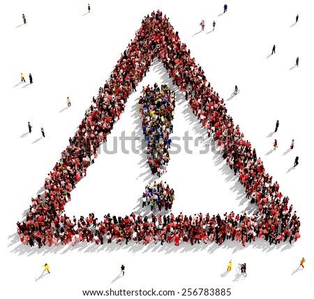 Large group of people gathered together in the shape of a warning sign - stock photo