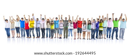 Large Group of People Holding Hands. - stock photo