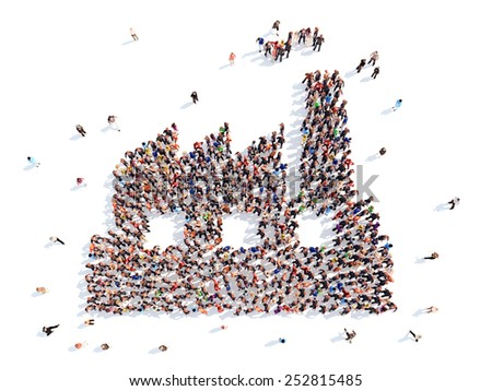 large group of people in a factory. - stock photo