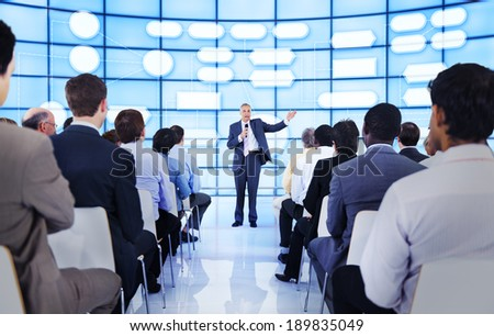 Large group of people in business presentation - stock photo