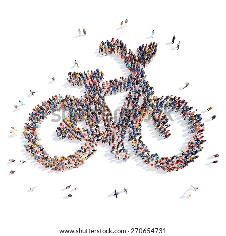 Large group of people in the form of a bicycle. Isolated, white background. - stock photo