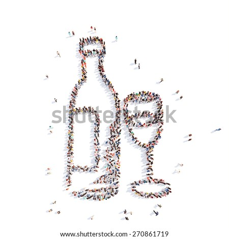 Large group of people in the form of a bottle of vodka. Isolated, white background. - stock photo