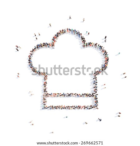 Large group of people in the form of a chef's hat. Isolated, white background. - stock photo