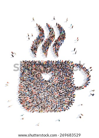 Large group of people in the form of a cup of coffee. Isolated, white background. - stock photo