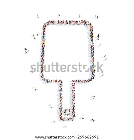 Large group of people in the form of a cutting board. Isolated, white background. - stock photo