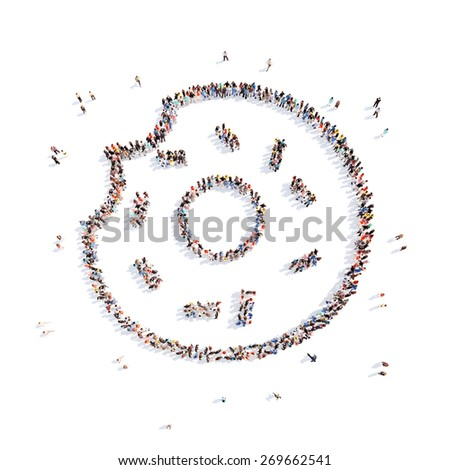 Large group of people in the form of a donut. Isolated, white background. - stock photo