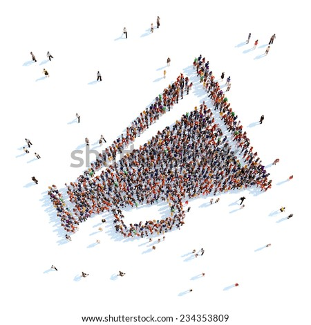 Large group of people in the form of a horn. White background. - stock photo