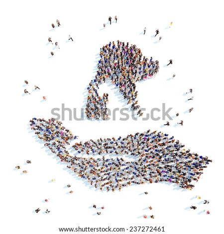 Large group of people in the form of a palm with a dog and a cat, symbolizing the protection of animals. White background. - stock photo