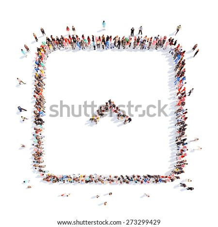 Large group of people in the form of arrows, business, and technology. Isolated, white background. - stock photo