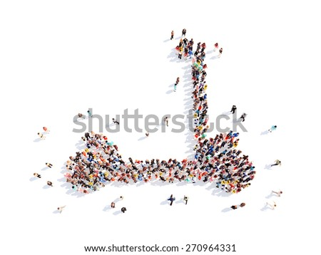 Large group of people in the form of children's scooter. Isolated, white background. - stock photo