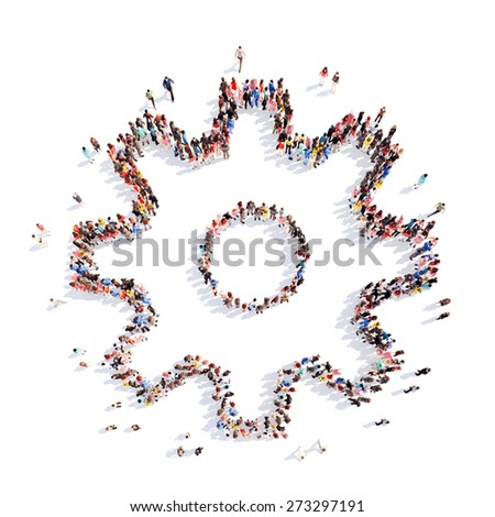 Large group of people in the form of gears. Isolated, white background. - stock photo