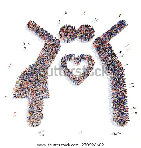 Large group of people in the form of people in love. Isolated, white background. - stock photo