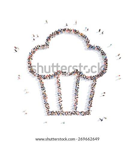 Large group of people in the form of pies. Isolated, white background. - stock photo
