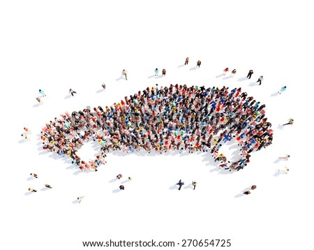 Large group of people in the form of the car. Isolated, white background. - stock photo