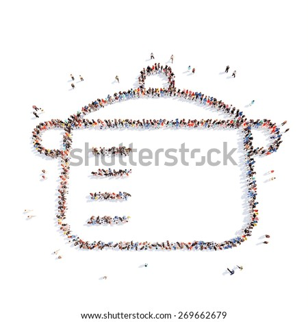 Large group of people in the form of the pan. Isolated, white background. - stock photo