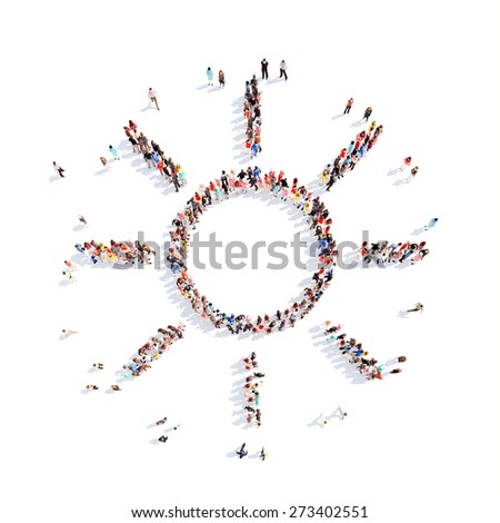 Large group of people in the form of the sun. Isolated, white background. - stock photo