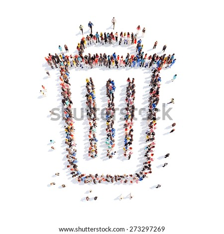 Large group of people in the form of the trash. Isolated, white background. - stock photo
