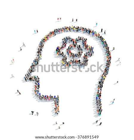 Large group of people in the shape of a human head,gear , isolated, white background. - stock photo