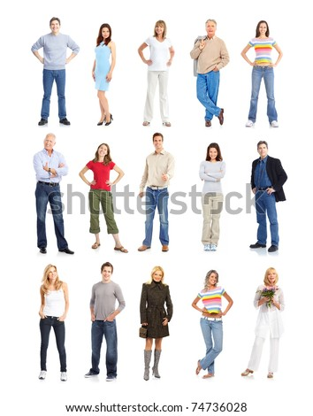 Large group of people. Isolated over white background. - stock photo