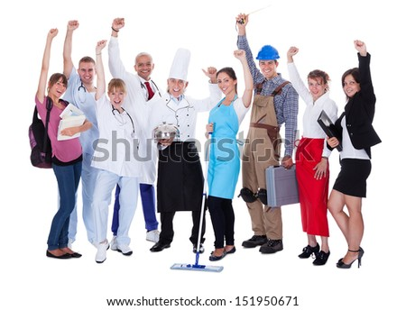 Large group of people representing diverse professions including - stock photo
