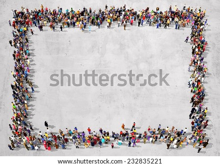 Large group of people seen from above, gathered in the shape of a rectangle standing on concrete background - stock photo