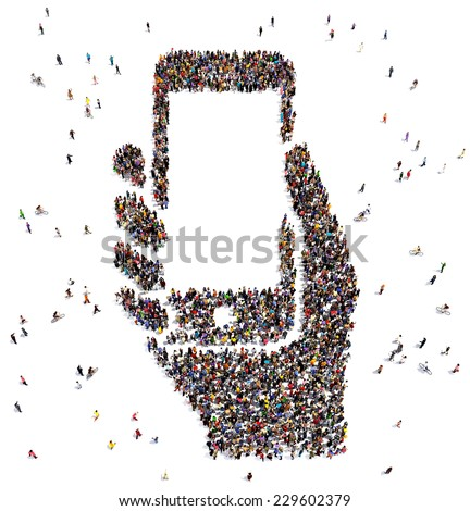 Large group of people seen from above, gathered in the shape of a smartphone in hand - stock photo