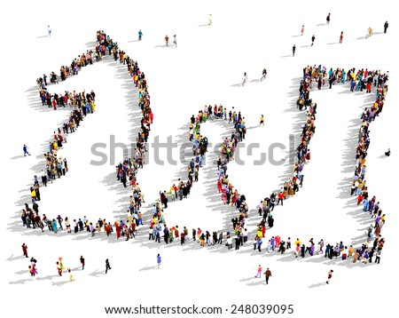 Large group of people seen from above gathered in the shape of chess pieces - stock photo