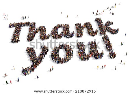 "Large group of people seen from above, gathered in the shape of ""Thank you!"" text, on white background - stock photo"