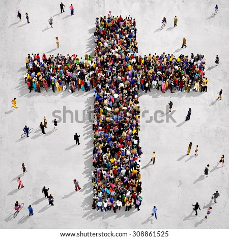 Large group of people seen from above gathered together around the shape of a cross, on concrete background - stock photo
