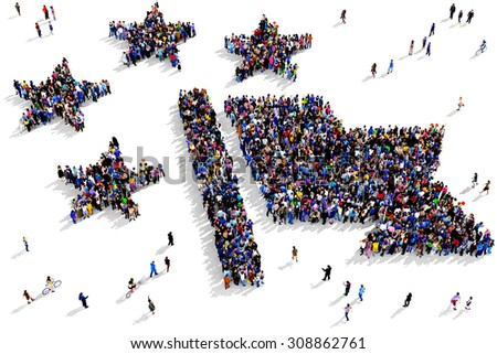 Large group of people seen from above gathered together around the shape of a union flag symbol - stock photo
