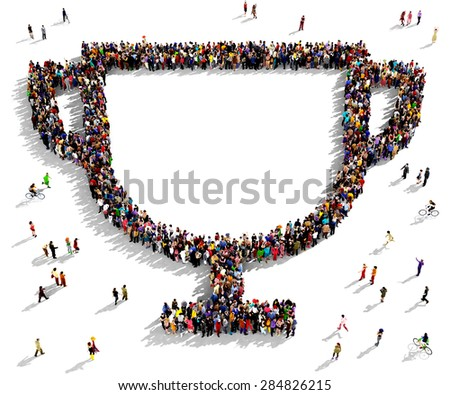 Large group of people seen from above gathered together in the shape of a cup symbol - stock photo