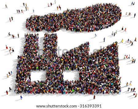 Large group of people seen from above gathered together in the shape of a factory - stock photo