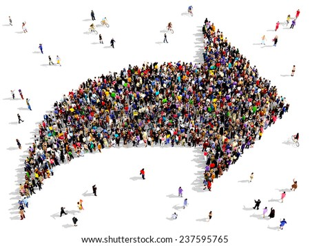 Large group of people seen from above gathered together in the shape of an arrow - stock photo