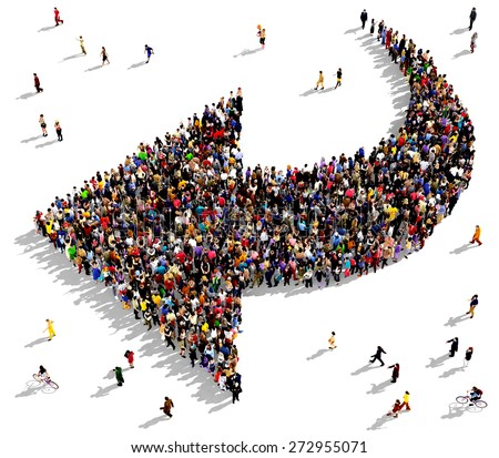 Large group of people seen from above gathered together in the shape of an curved arrow pointing to the left. People around the shape looking towards the arrow's direction. - stock photo