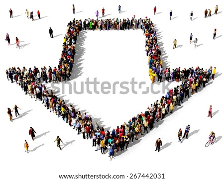 Large group of people seen from above gathered together in the shape of an outlined arrow pointing towards the viewer. People around the shape looking towards the arrow's direction. - stock photo