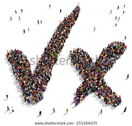 Large group of people seen from above gathered together in the shape of check marks symbols - stock photo