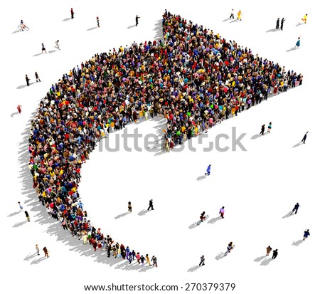 Large group of people seen from above gathered together in the shape of curved arrow pointing to the right. People around the shape looking towards the arrow's direction. - stock photo